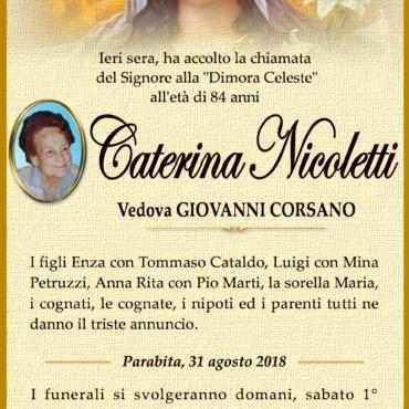 Caterina Nicoletti – vedova Corsano Giovanni – Parabita
