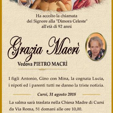 Grazia Macrì – vedova Pietro Macrì – Cursi