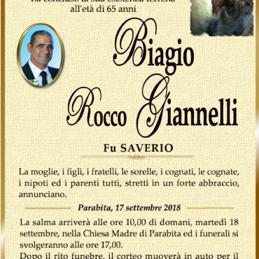 Biagio Rocco Giannelli – Fu Saverio – Parabita