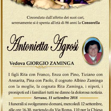 Antonietta Agrosì – Vedova Giorgio Zaminga – Serrano