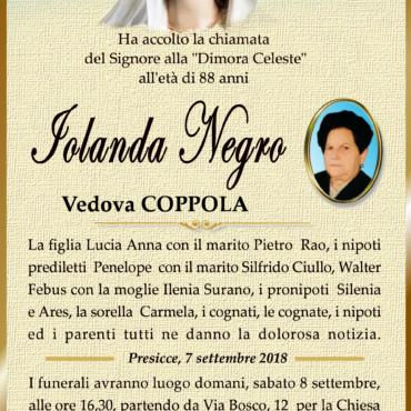 Iolanda Negro – Vedova Coppola – Presicce