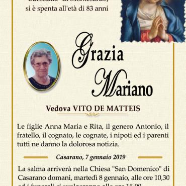 Grazia Mariano – Vedova Vito De Matteis