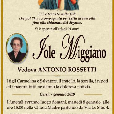 Iole Miggiano – Vedova  Antonio Rossetti – Cursi