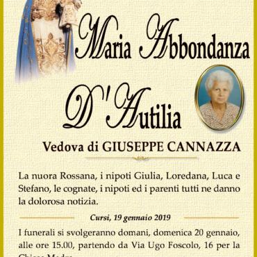 Maria Abbondanza D'Autilia ved. Giuseppe Cannazza – Cursi