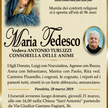 Maria Tedesco – Vedova Antonio Turlizzi – Consorella delle Anime – Parabita