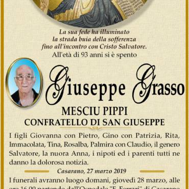Giuseppe Grasso – Mesciu Pippi – Confratello di San Giuseppe – Casarano