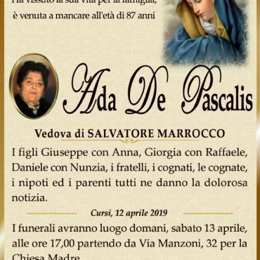 Ada De Pascalis – Vedova Salvatore Marrocco – Cursi