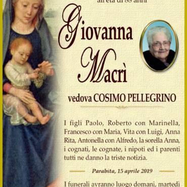 Giovanna Macrì – Vedova Cosimo Pellegrino – Parabita