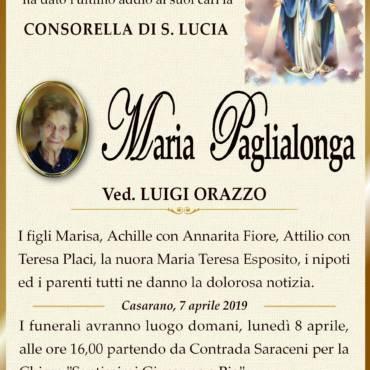Maria Paglialonga – Consorella di S. Lucia – Vedova Luigi Orazzo – Casarano