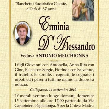 Erminia D'Alessandro – Vedova Antonio Melchionna – Collepasso