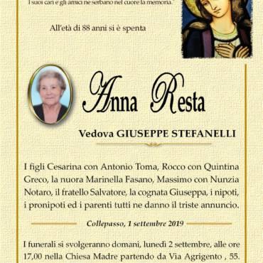 ANNA RESTA – Vedova GIUSEPPE STEFANELLI – COLLEPASSO