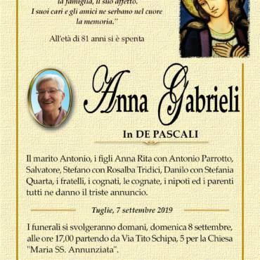 ANNA GABRIELI – In DE PASCALI – TUGLIE