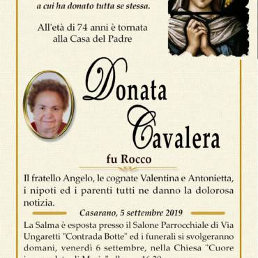 DONATA CAVALERA – fu ROCCO – CASARANO