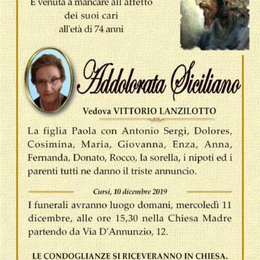 Addolorata Siciliano – Vedova Vittorio Lanzilotto – Cursi