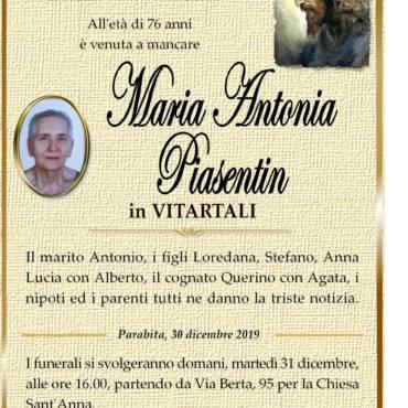 MARIA ANTONIA PIASENTIN – IN VITARTALI – PARABITA