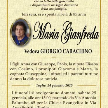 Maria Gianfreda – vedova Giorgio Carachino – Tuglie