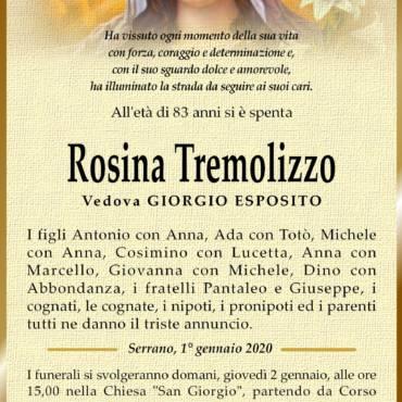 Rosina Tremolizzo – Vedova Giorgio Esposito – Serrano