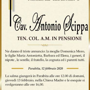 Cav. Antonio Scippa – TEN. COL. A.M. in pensione – Parabita