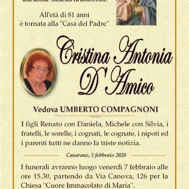 Cristina Antonia D'Amico – Vedova UMBERTO COMPAGNONI – Casarano