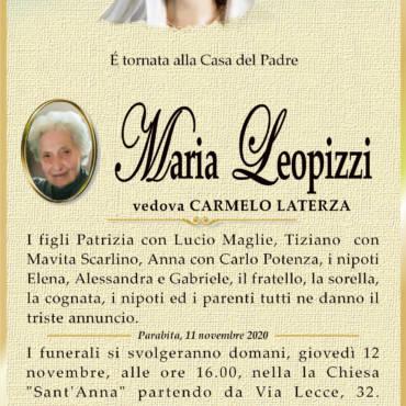 Maria Leopizzi – vedova CARMELO LATERZA – Parabita