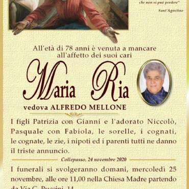 Maria Ria – vedova Alfredo Mellone – Collepasso