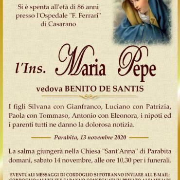 Maria Pepe – vedova BENITO DE SANTIS – Parabita