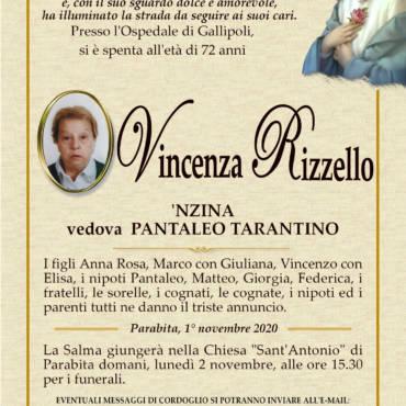 Vincenza Rizzello – vedova PANTALEO TARANTINO – Parabita