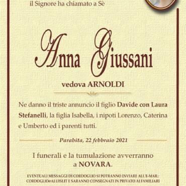 Anna Giussani – vedova Arnoldi – Novara