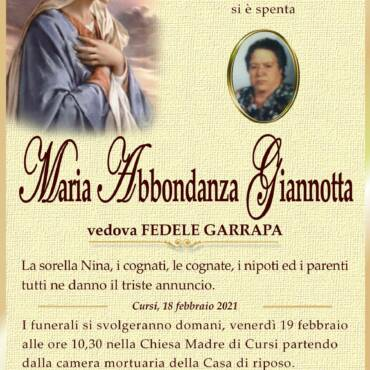 Maria Abbondanza Giannotta – vedova Fedele Garrapa – Cursi