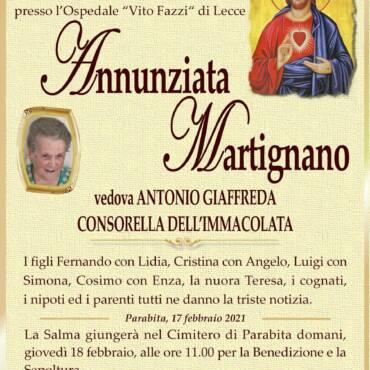 Annunziata Martignano – vedova Antonio Giaffreda – Parabita
