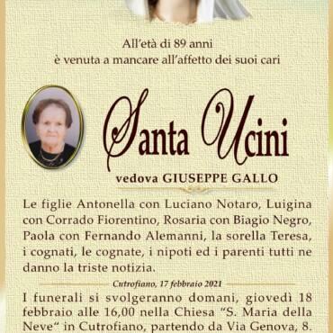Santa Ucini – vedova Giuseppe Gallo – Cutrofiano