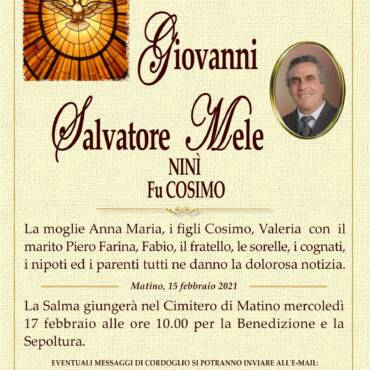 Giovanni Salvatore Mele – Ninì – fu Cosimo – Matino