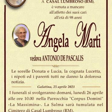 Angela Marti – vedova Antonio De Pascalis – Casal Lumbroso (RM) – Galatina