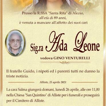 Ada Leone – vedova Gino Venturelli – Alliste