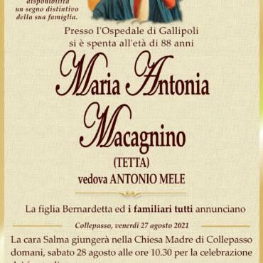 Maria Antonia Macagnino – vedova Antonio Mele – Collepasso