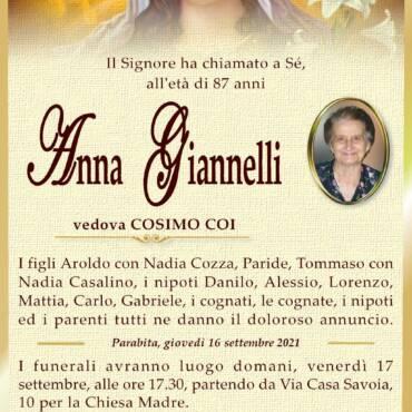 Anna Giannelli – vedova Cosimo Coi – Parabita