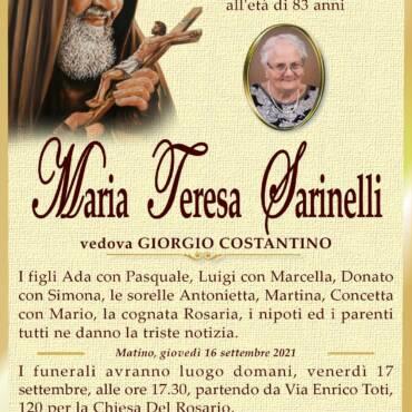 Maria Teresa Sarinelli – vedova Giorgio Costantino – Matino