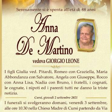 Anna De Martino – vedova Giorgio Leone – Cursi